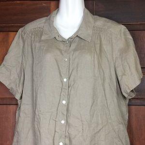 J. Jill Women's Top Button Front Khaki XL Linen